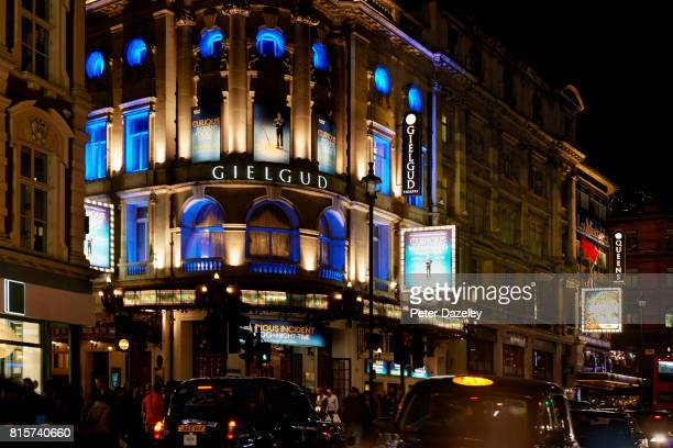 Exterior of Gielgud Theatre at night in Shaftesbury Avenue on October 29 2016 in London