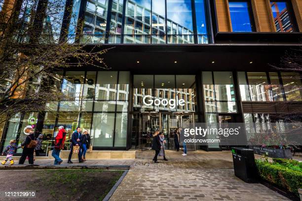 exterior of google office headquarters in london, uk - big tech stock pictures, royalty-free photos & images