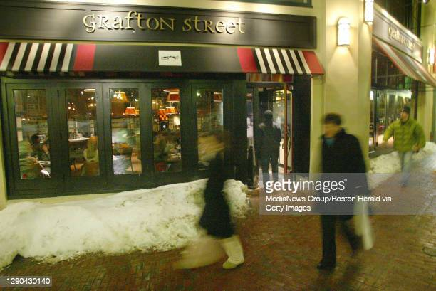 Exterior of Grafton Street in Cambridge Tuesday night. PHOTOG NOTE: Chef Ryan Cyr told me he was unable to show off any Superbowl type fare as those...
