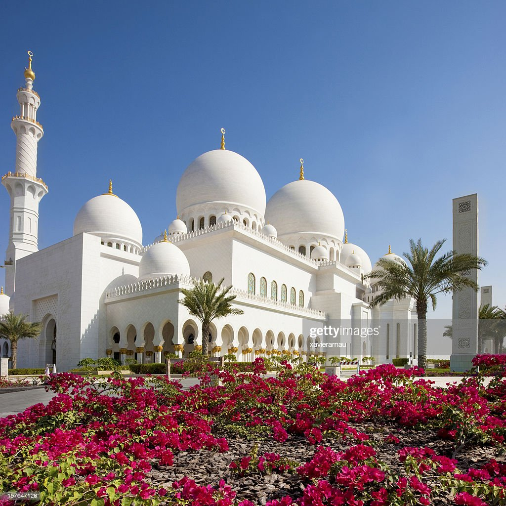 Exterior Of Grand Mosque In Abu Dhabi High-Res Stock Photo
