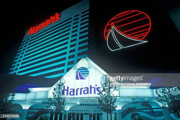 Exterior of Harrah's Gambling Casino at night in Atlantic City, NJ
