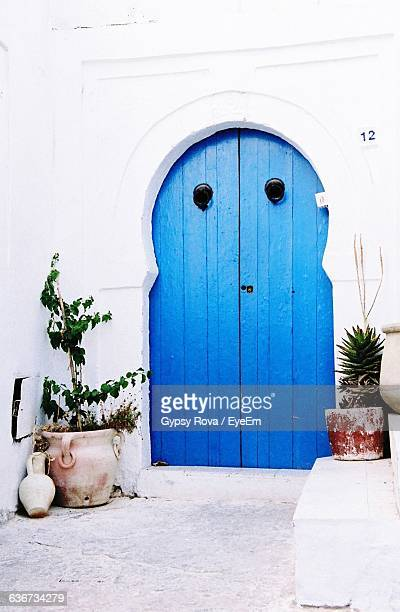 Exterior Of House With Closed Blue Door