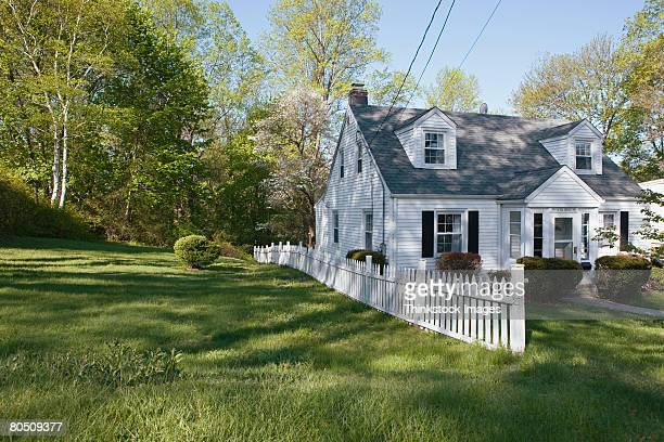 Exterior of house with white picket fence