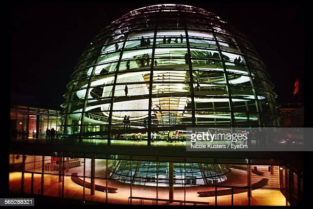 Exterior Of Illuminated The Reichstag Against Clear Sky At Night
