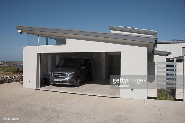 exterior of modern car garage - garage stock pictures, royalty-free photos & images