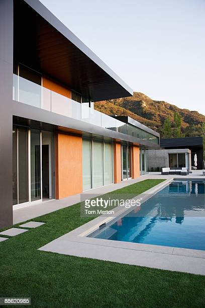 exterior of modern house and swimming pool - calabasas stock photos and pictures