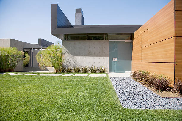 exterior of modern house - modern stock pictures, royalty-free photos & images