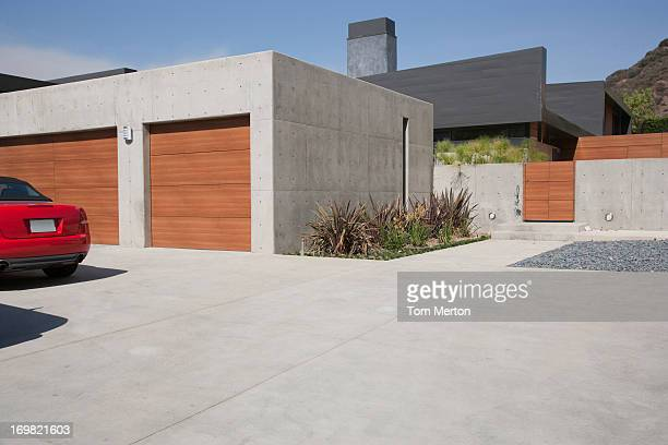 exterior of modern two-car garage - concrete stock pictures, royalty-free photos & images
