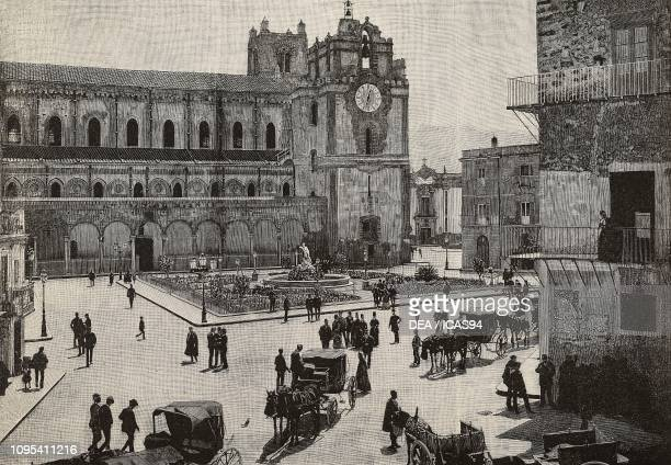 Exterior of Monreale Cathedral Italy engraving from a photograph by Eugenio Interguglielmi from L'Illustrazione Italiana year 18 no 46 November 15...