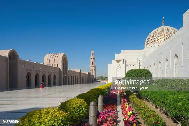 Exterior Of Mosque Against Clear Blue Sky