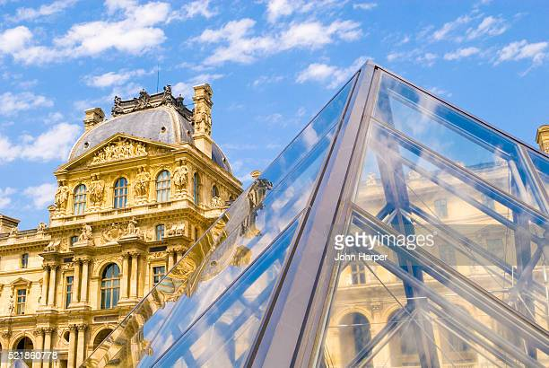 exterior of musee du louvre - louvre pyramid stock pictures, royalty-free photos & images