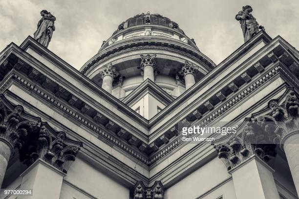 exterior of neue kirche, berlin, germany - gendarmenmarkt stock pictures, royalty-free photos & images