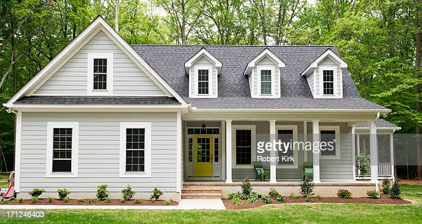 exterior of new suburban house - yellow stock pictures, royalty-free photos & images