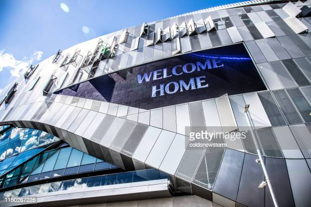 exterior of new tottenham hotspur stadium in london, uk - football bulge stock photos and pictures