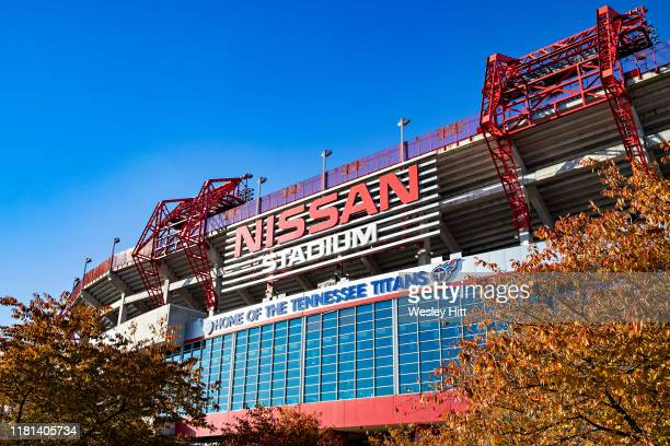 Exterior of Nissan Stadium before a game between the Tennessee Titans and the Kansas City Chiefs at Nissan Stadium on November 10, 2019 in Nashville,...