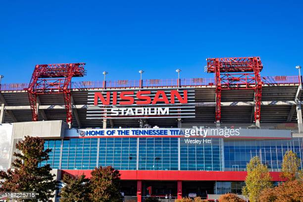 Exterior of Nissan Stadium, Home of the Tennessee Titans before a game against the Kansas City Chiefs at Nissan Stadium on November 10, 2019 in...