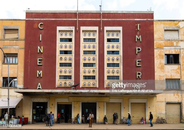 Exterior of old art deco style building cinema impero built in 1937 during the italian colonial times, Central region, Asmara, Eritrea on August 14,...