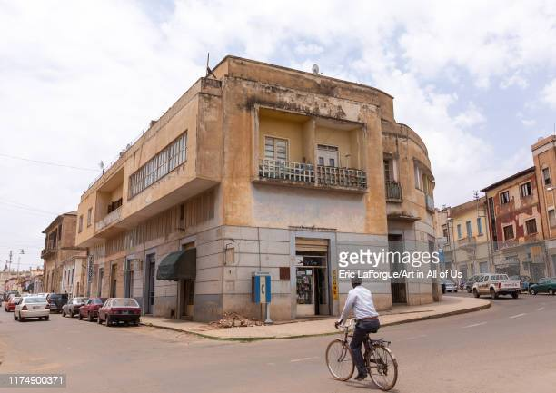 Exterior of old art deco style building from the italian colonial times, Central region, Asmara, Eritrea on August 22, 2019 in Asmara, Eritrea.