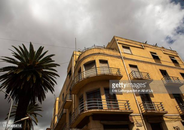 Exterior of old art deco style building from the italian colonial times Central region Asmara Eritrea on August 14 2019 in Asmara Eritrea