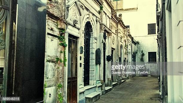 exterior of old building in cemetery - suarez stock pictures, royalty-free photos & images