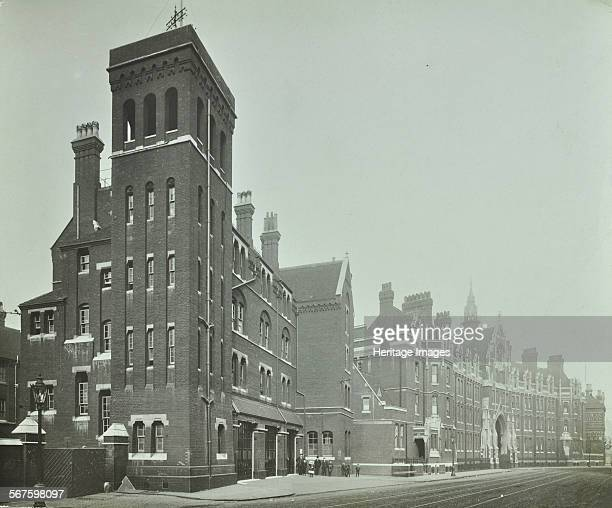 Exterior of old London Fire Brigade Headquarters seen from the street Southwark London Fire station with tower which was used for pracise the...