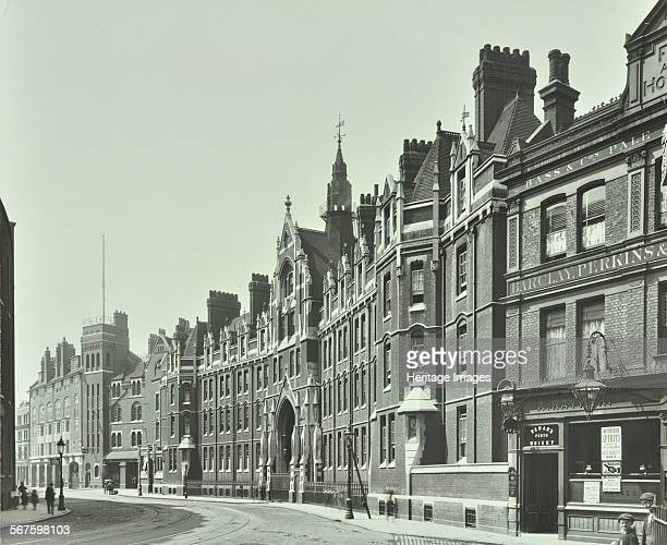 Exterior of old London Fire Brigade Headquarters Southwark London 1911 Eastern façade of the Victorian Gothic building seen from the north The...