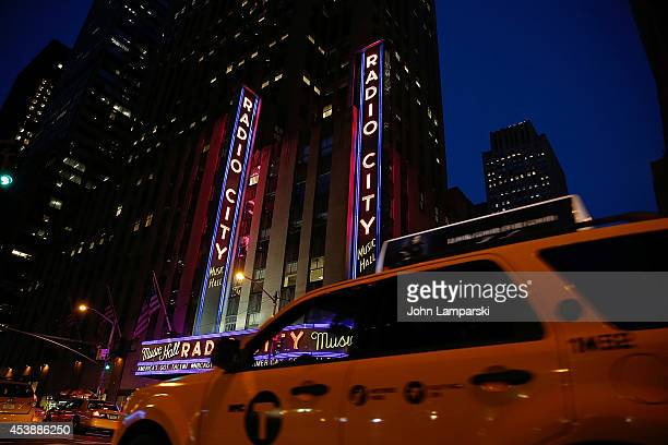 Exterior of Radio City Music Hall during the America's Got Talent Post Show Red Carpet at Radio City Music Hall on August 20 2014 in New York City