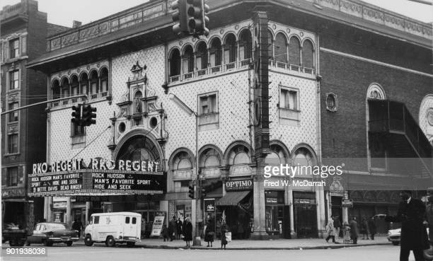 Exterior of RKO Regent Theatre cinema New York New York March 17 1964 The marquee advertises 'Man's Favorite Sport' 'Hide and Seek' and 'Dead Ringer'