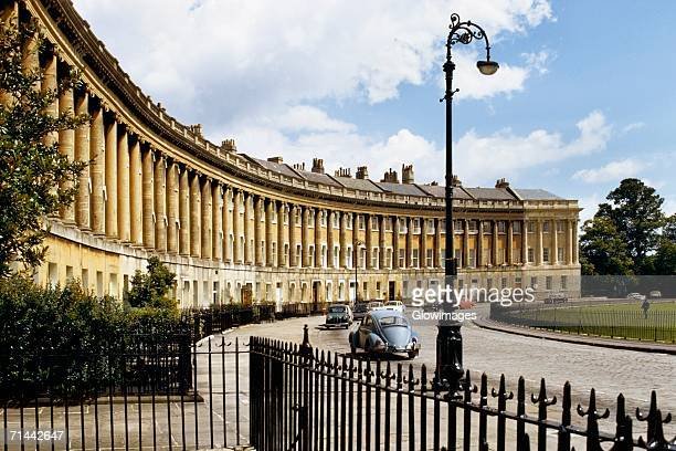 exterior of royal crescent bath, england - bath england stock pictures, royalty-free photos & images