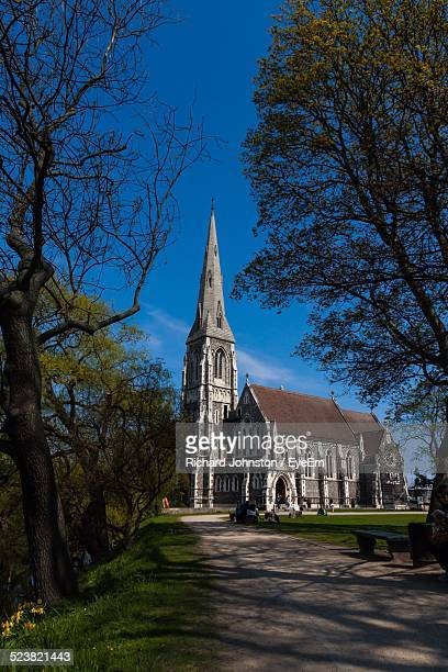 exterior of st. alban church - oresund region stock photos and pictures