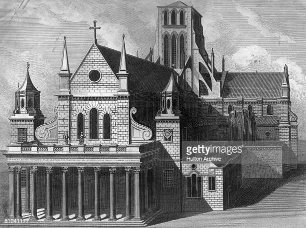 1561 Exterior of St Paul's Cathedral London after the spire was destroyed by lightning in 1561