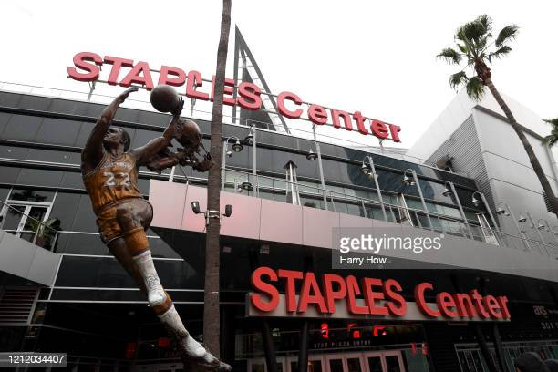 Exterior of Staples Center after both the NHL and NBA postpone seasons due to corona virus concerns at Staples Center on March 12 2020 in Los Angeles...