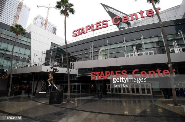 Exterior of Staples Center after both the NHL and NBA postpone seasons due to corona virus concerns at Staples Center on March 12, 2020 in Los...