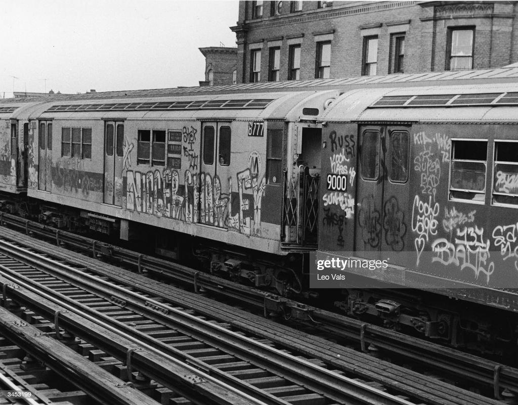Graffiti on new york subway cars news photo
