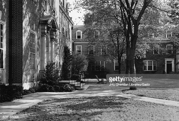Exterior of the Alumni Memorial Residences I student housing on the Homewood campus of Johns Hopkins University in Baltimore Maryland showing...