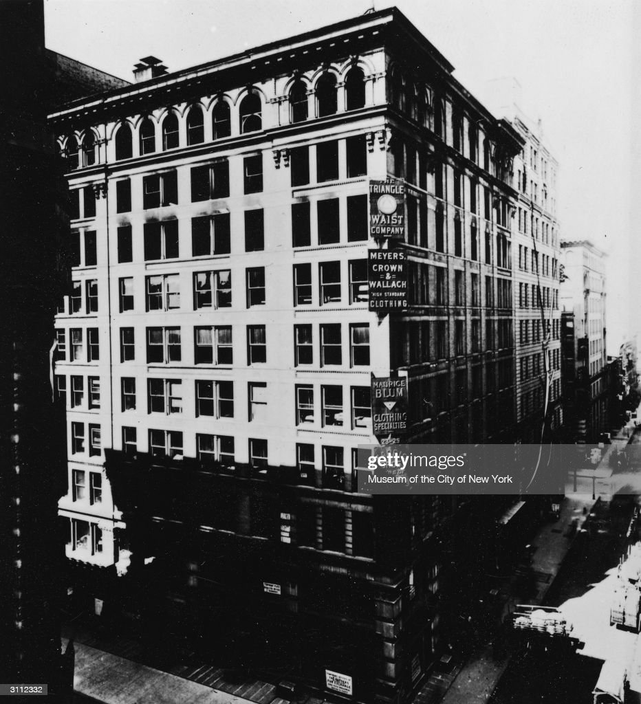 Exterior of the Asch Building, on Washington and Greene Streets, site of the tragic Triangle Shirtwaist Company fire on March 25, 1911, New York City, circa 1910.