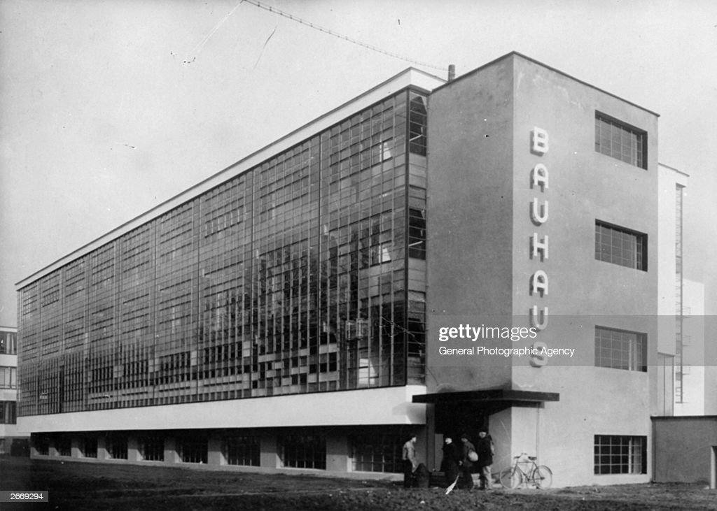 exterior of the bauhaus school of applied at dessau designed by news photo getty images. Black Bedroom Furniture Sets. Home Design Ideas