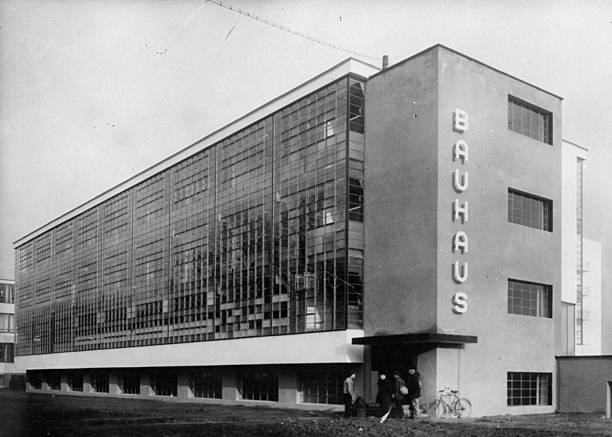 Exterior of the Bauhaus school of applied at Dessau,...