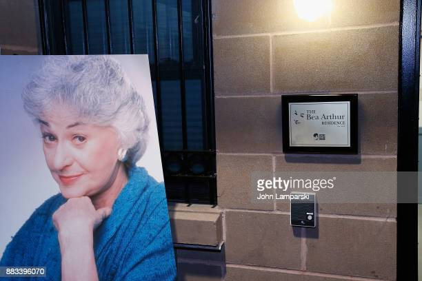 Exterior of The Bea Arthur Residence Building and plaque is seen during its dedication on November 30, 2017 in New York City.