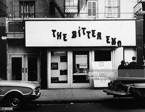 Exterior of The Bitter End coffee house a venue specializing in live acoustic folk music Greenwich Village New York City 1960s