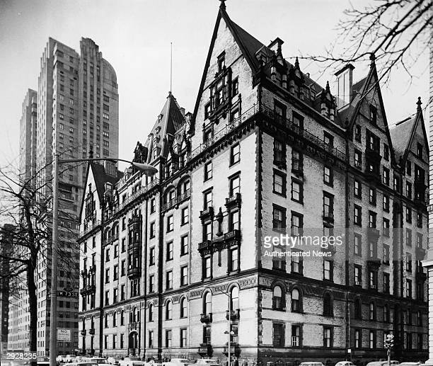 Exterior of the Dakota apartment building at 1 West 72nd Street and Central Park West New York City circa 1955