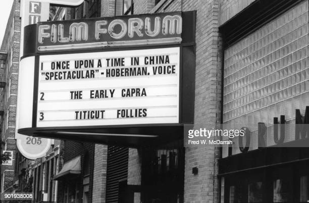 Exterior of the Film Forum cinema New York New York May 26 1992 The marquee advertises 'Once Upon a Time in China' 'The Early Capra' and 'Titicut...