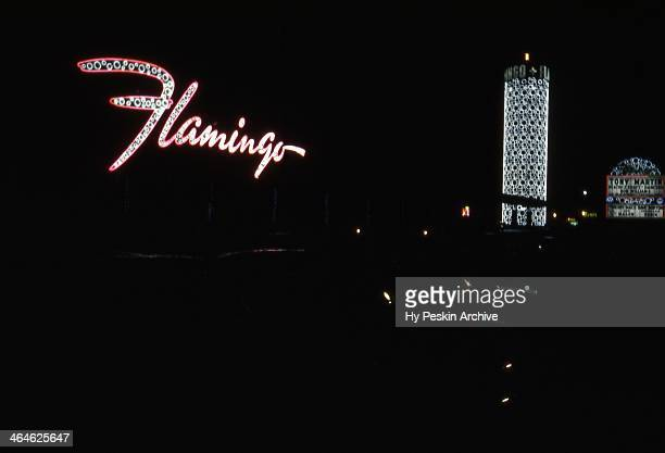 Exterior of The Flamingo Hotel at night in 1955 in Las Vegas, Nevada.
