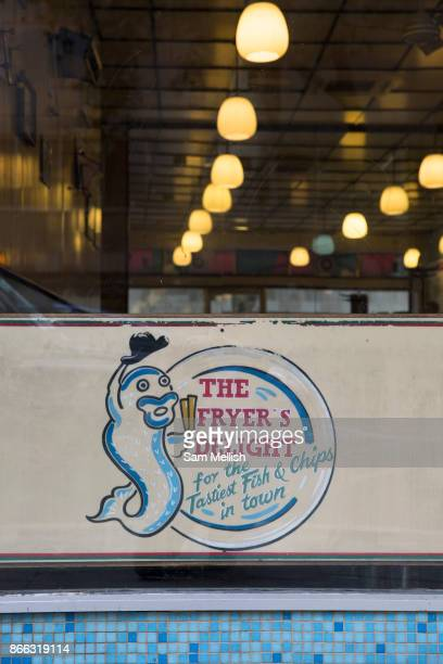 Exterior of the Fryer's Delight Fish and Chip Shop on 13th October 2015 along Theobald's Road in London United Kingdom The Fryers Delight is a...