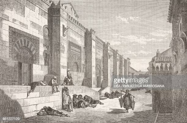 Exterior of the Great Mosque of Cordoba on Calle del Meson del Sol Spain drawing by Dore from Travels in Spain by Gustave Dore and Jean Charles...