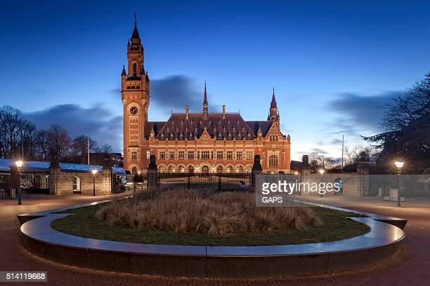 exterior of The Hague's illuminated Peace Palace