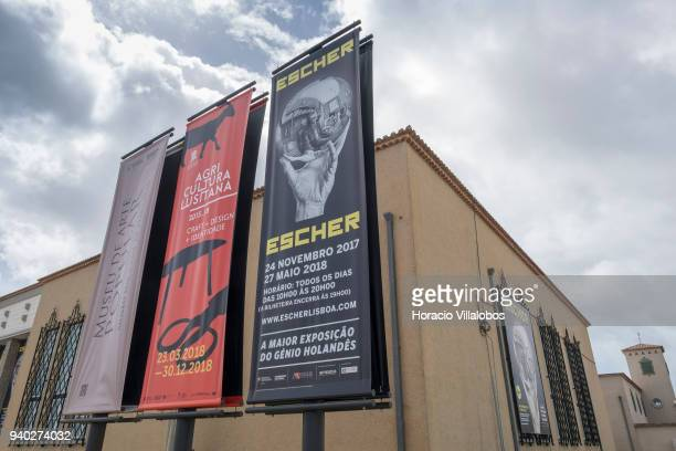 Exterior of the Museu de Arte Popular announcing Dutch artist Maurits Cornelis Escher exhibition on March 30 2018 in Lisbon Portugal This exhibition...