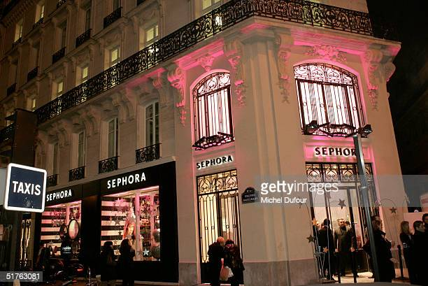 Exterior of the new Sephora store and opening party on Haussmann Boulevard November 18 2004 in Paris France