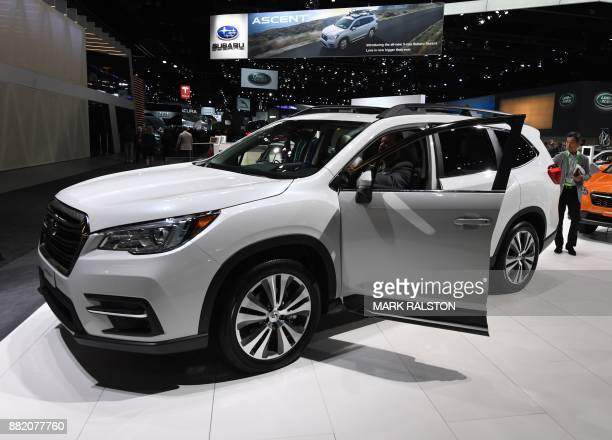 Exterior of the new Subaru Ascent SUV at the 2017 LA Auto Show in Los Angeles California on November 29 2017 / AFP PHOTO / Mark RALSTON