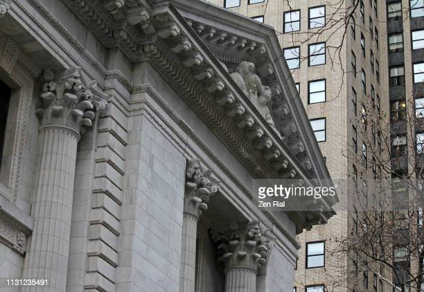 Exterior of the New York Public Library Main Branch building in Manhattan, NYC